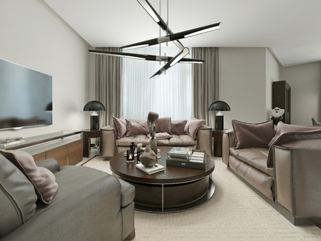 seating area: Modern design in the living room seating area, coffee and light beige. With leather sofas and an armchair. Modern design. 3d render. Stock Photo