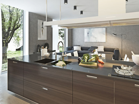 wood room: Kitchen contemporary style, 3d images