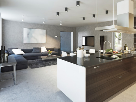 room decor: Kitchen contemporary style, 3d images