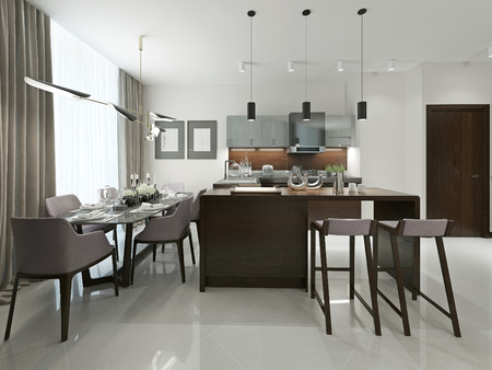 contemporary kitchen: Kitchen contemporary style. 3d visualization