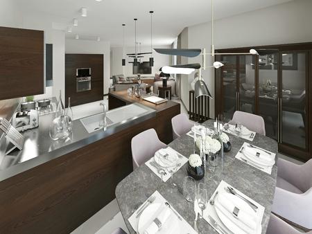serve tavolo nella sala da pranzo con sedie morbide. con ... - Mobili Moderni Sala Da Pranzo