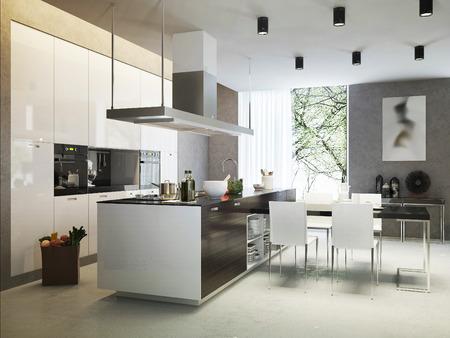 cucina moderna: Stile contemporaneo Cucina, immagini 3d Archivio Fotografico