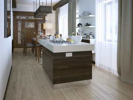 wood flooring: Kitchen in a modern style, 3d images