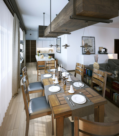 light breakfast: Dining room, rustic style, 3d images Stock Photo