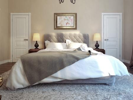 Slaapkamer klassieke stijl, 3d beeld Stockfoto