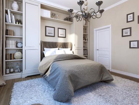 Dormitorio de estilo clásico, imagen 3d Foto de archivo - 47428220