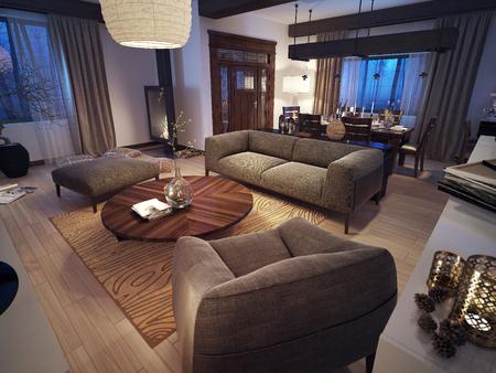 paisajes noche pareja: Moderna sala de estar, imágenes 3d