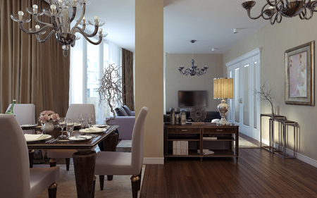 avantgarde: Antique and art deco living room. 3D images
