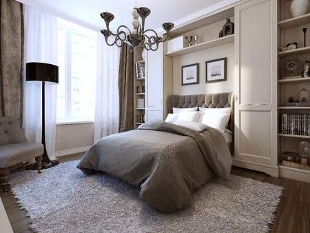 modern chair: Bedroom art deco style, 3d image