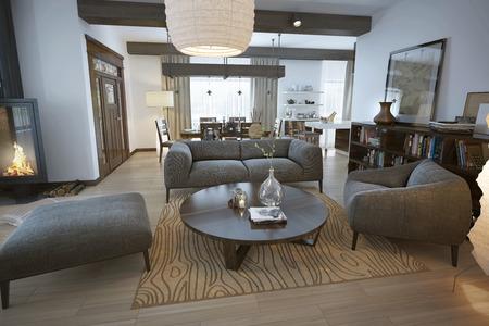 living room sofa: Modern living room, 3d images Stock Photo