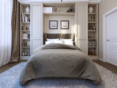 Slaapkamer moderne stijl, 3d beeld Stockfoto