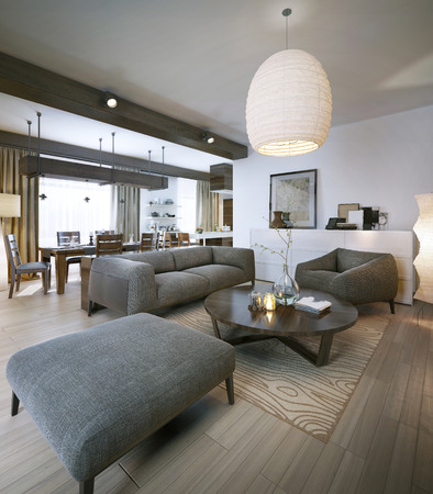 family rooms: Modern living room, 3d images Stock Photo
