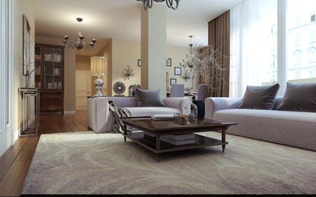 planta de cafe: de estar art deco habitación y estilo moderno. Imágenes en 3D