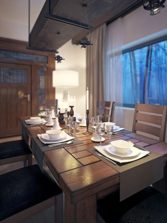 rustic kitchen: Dining room, rustic style, 3d images Stock Photo