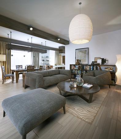 room decor: Modern living room, 3d images Stock Photo
