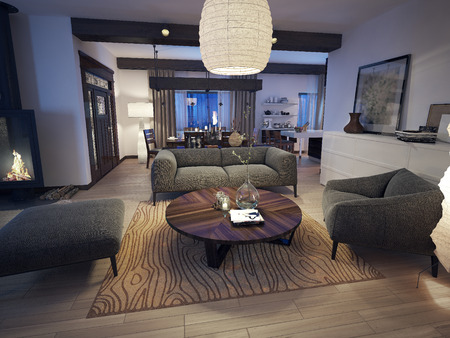 fires artificial: Modern living room, 3d images Stock Photo