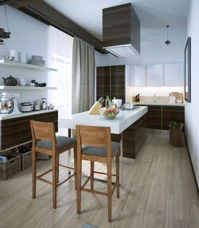 lunch table: Kitchen in a modern style, 3d images