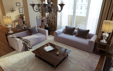 living style: living room art deco and modern style. 3D images Stock Photo
