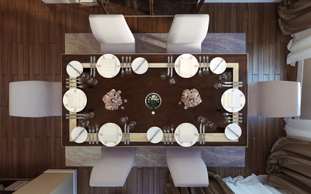 classical style: Dining room classical style. 3D images Stock Photo