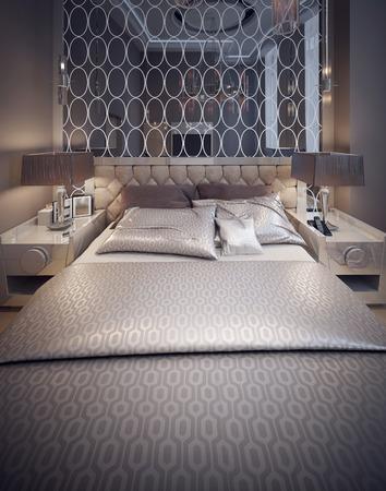 nightstands: Bedroom avangard style. 3d render