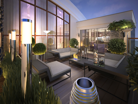 outdoor fireplace: roof - terrace in a modern style. 3d render
