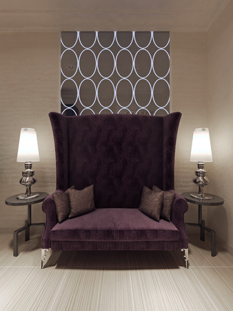 Bench luxury style. 3d visualization