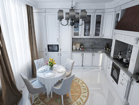 neoclassical: Kitchen in neoclassical style. 3d images