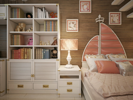 neoclassical: Childrens room in the neoclassical style. 3d render