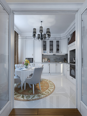 pilasters: Kitchen in classical style, 3d images