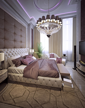 ceiling: Bedroom Art Deco style. 3d render