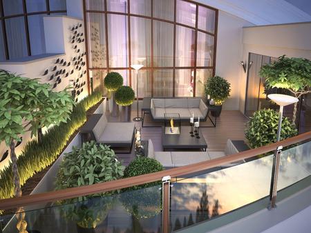 modern garden: roof - terrace in a modern style. 3d render
