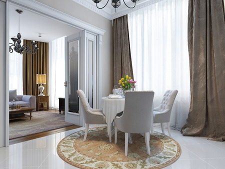 classic: The dining room in classic style, 3d images Stock Photo