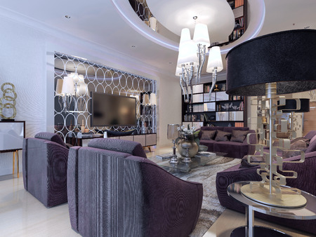 lampshades: Living in a luxury modern style. 3d render