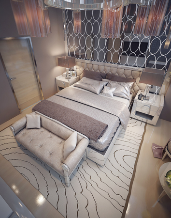 luxury bedroom: Luxury bedroom art deco style. 3d render