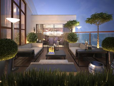 convés: telhado - terraço em estilo moderno. 3d rendem