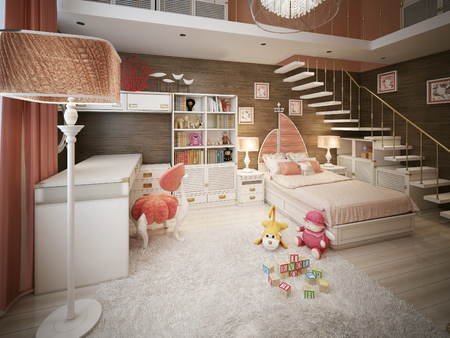 modern chair: Childrens room in a marine style. 3d render