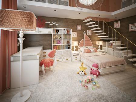 silla de madera: habitación de los niños en un estilo marino. 3d