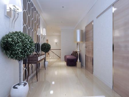 Corridor Art Deco style. 3d render Stock Photo