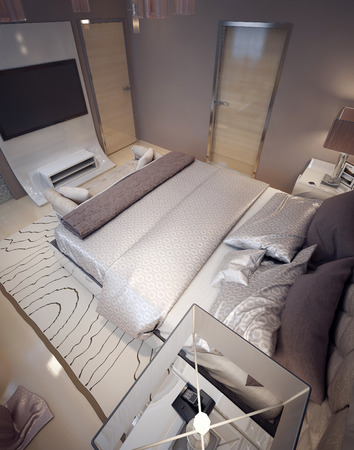 nightstands: Luxury bedroom modern style. 3d render