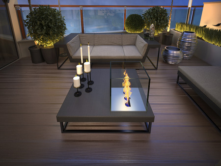 party night: roof - terrace in a modern style. 3d render