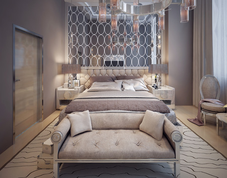 vase plaster: Bedroom in modern style. 3d render
