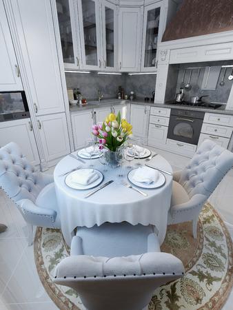 クラシックなスタイル、3 d 画像のキッチン