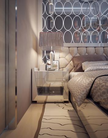 bedside: Bedside table Art Deco style. 3d render