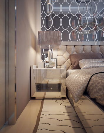 nightstands: Bedside table Art Deco style. 3d render