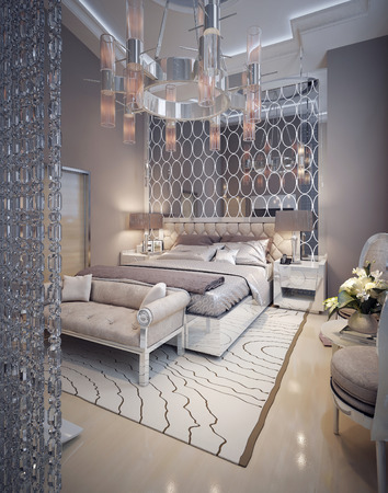 Luxury bedroom art deco style. 3d render