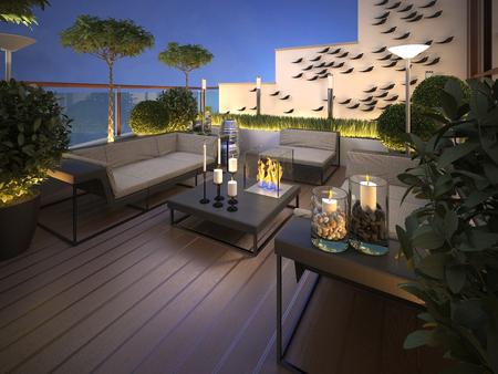 dak - terras in een moderne stijl. 3d render