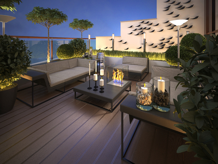 luxurious sofa: roof - terrace in a modern style. 3d render