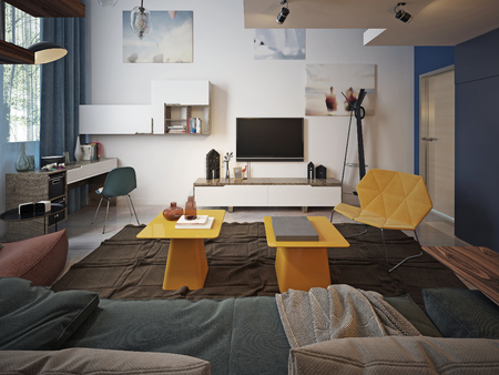 room decor: Youth room Contemporary style. 3d render