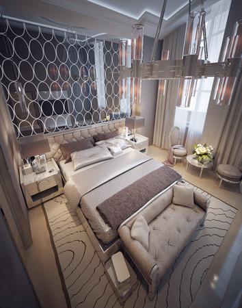 nightstands: Luxury bedroom modern style. 3d render