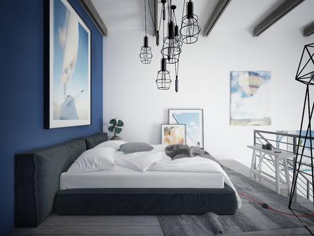 chambre à coucher: Chambre style loft. 3d render